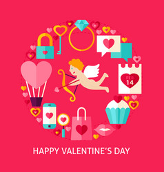 happy valentines day postcard vector image