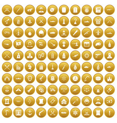 100 weapons icons set gold vector