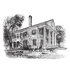 A north carolina mansion vintage vector