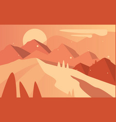 beautiful natural landscape scene of nature with vector image