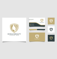 beauty women shield logo and business card good vector image