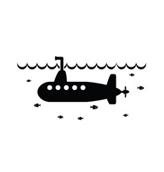 black and white submarine vector image