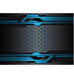 Blue black futuristic polygon hexagon mesh vector