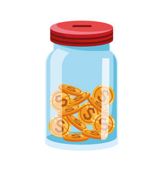Bottle with money coins icon colorful design vector