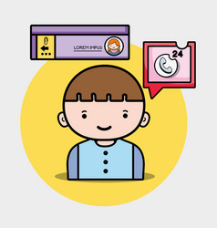 Boy with chat bubble social message vector