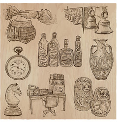 bric a brac objects - an hand drawn pack vector image