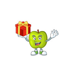 Bring gift granny smith apple character for health vector