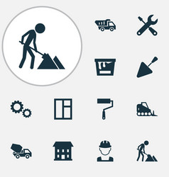 building icons set with color can tipper wall vector image
