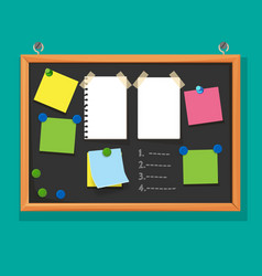 Bulletin board with paper notes do list on black vector