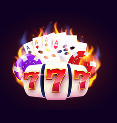 Burning slot machine dices poker cards wins wins vector