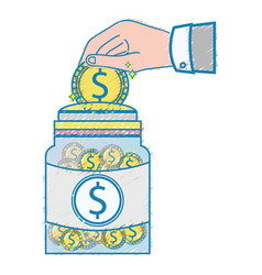 businessman hand saving the coin in the glass jar vector image