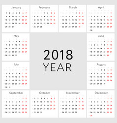 Calendar 2018 english version vector