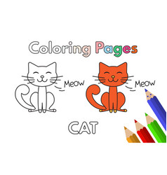 Cartoon cat coloring book vector