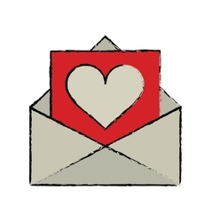 cartoon envelope with valentine heart vector image