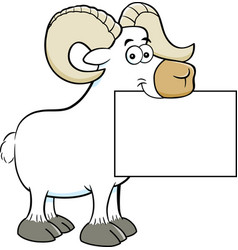 Cartoon ram holding a sign vector