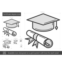 Certificate degree line icon vector
