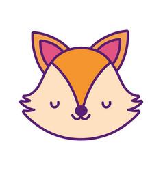 Cute fox face toy cartoon character icon vector