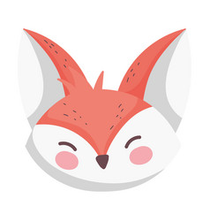 cute fox head cartoon on white background vector image