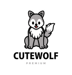 cute wolf cartoon logo icon vector image