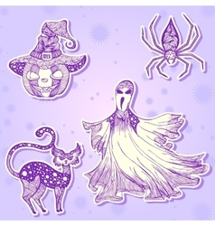 Decorative drawing stickers for Halloween part 2 vector image vector image