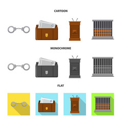 Design of law and lawyer icon set of law vector