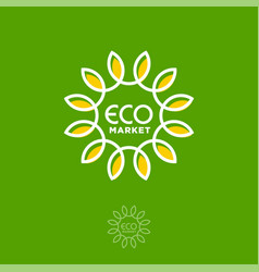 eco market logo letters and sunflower as sun vector image