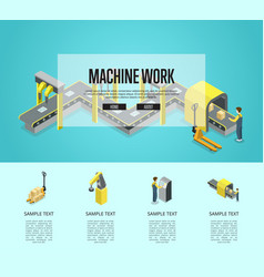 Factory automation and machinery poster vector