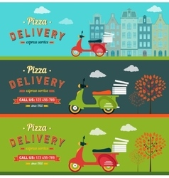 Fast food and pizza delivery horizontal banners vector image