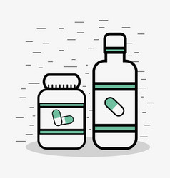 Flat line jar medical pills vector