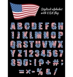 Font with an American flag vector image