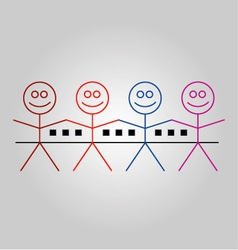 Four happy stick figures with houses vector