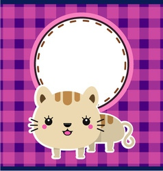 Funny cat with frame vector image