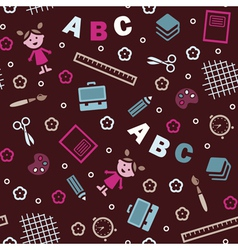 Girl boy and ABC seamless background vector