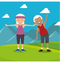grandparents with sport clothes vector image