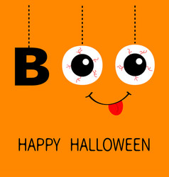 happy halloween hanging word boo text eyeballs vector image