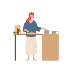 happy modern housewife cooking food at kitchen vector image