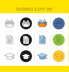high education icons set vector image