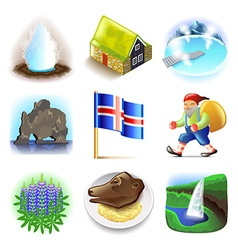 Iceland icons set vector image