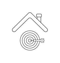 Icon concept bulls eye with dart in center vector