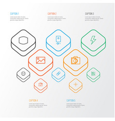 Image icons line style set with wide angle tag vector