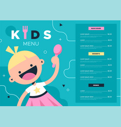 Kids menu colorful kid food and drink vector