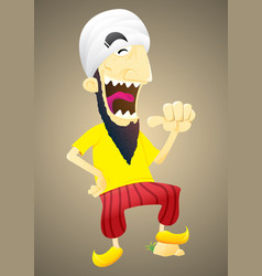 laughing man wearing white turban vector image