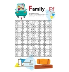 Letter Maze F This worksheet helps kids recognize vector