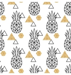Line geometric pineapple and gold shimmer dot vector image