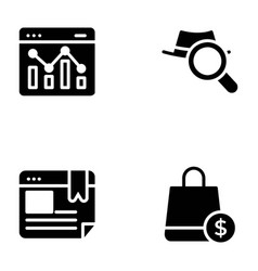 list seo and web solid pack vector image