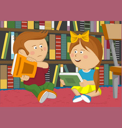 little girl and boy sitting on floor in library vector image