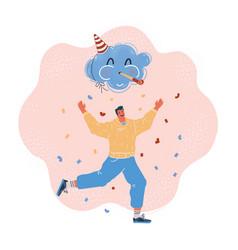 Man celebrate and run vector