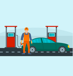 man fill the car with petrol background flat vector image