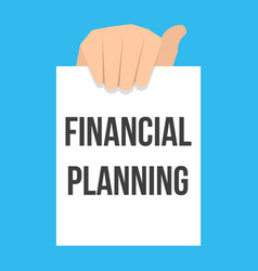 man showing paper financial planning text vector image