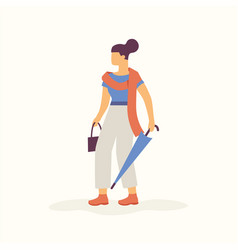 modern stylish young woman walking with folded vector image